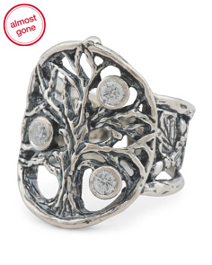 Made In Israel Sterling Silver Tree Of Life Cz Ring