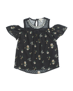 Big Girls Jeweled Neck Top