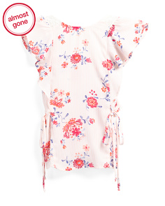 Big Girls Floral Ruffle Tie Side Top