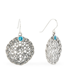 Made In Israel Sterling Silver Blue Topaz Cz Disc Earrings