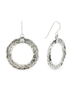 Made In Israel Sterling Silver Cz Circle Earrings