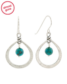 Made In Israel Sterling Silver Turquoise Teardrop Earrings