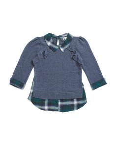 Big Girls Plaid Twofer Top