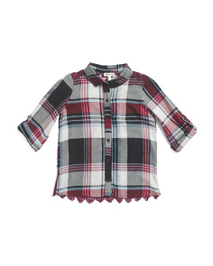 Big Girls Plaid Button Down Top
