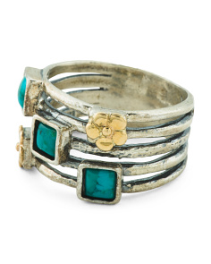 Made In Israel 14k And Sterling Silver Turquoise Ring