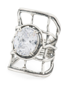 Made In Israel Sterling Silver Cz Grid Ring