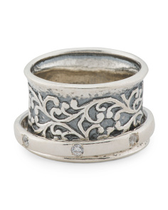 Made In Israel Sterling Silver Cz Spinner Ring