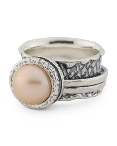 Made In Israel Sterling Silver Pearl Ring