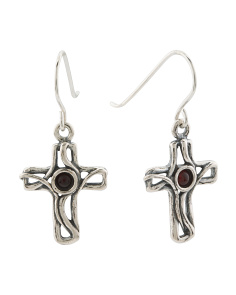 Made In Israel Sterling Silver Amber Cross Earrings