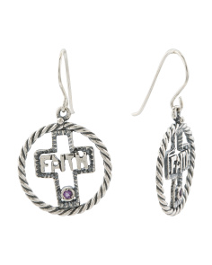 Made In Israel Sterling Silver Amethyst Cross Earrings