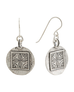 Made In Israel Sterling Silver Etched Circle Earrings