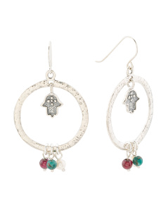 Made In Israel Sterling Silver Gemstone Hamsa Earrings