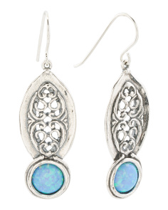 Made In Israel Sterling Silver Opal Drop Earrings