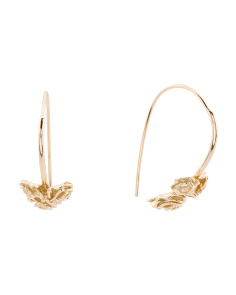 Gold Plated Sterling Silver Rose Earrings