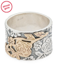 Made In Israel 14k Gold And Sterling Silver Floral Band Ring