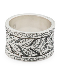 Made In Israel 14k And Sterling Silver Leaf Band Ring