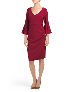 Petite Bell Sleeve Crepe Midi Dress