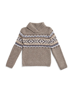 Little Boys Shawl Collar Jacquard Sweater