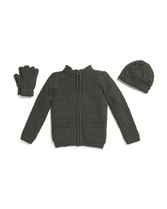 Little Boys 3pc Cardigan Hat & Gloves Set