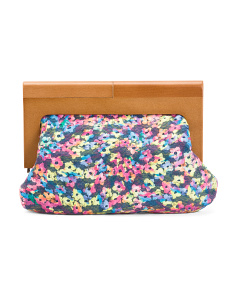 Floral Wood Frame Clutch