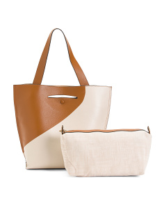 Color Block Nappa Leather Tote With Removable Pouch
