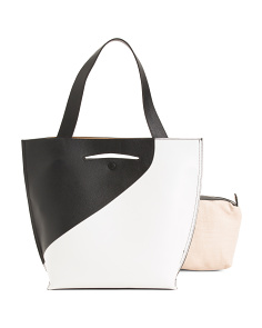 Leather Color Block Nappa Tote