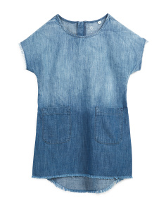 Big Girls Chambray Dress With Dip Dye