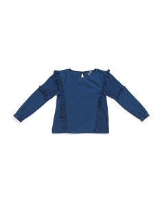Big Girl Chambray Ruffle Blouse