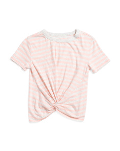 Big Girls Twist Front Striped Tee