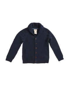 Little Boys Honeycomb Shawl Collar Cardigan