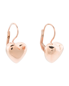 Made In Italy Rose Plated Silver Puffed Heart Earrings