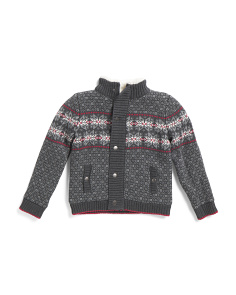 Little Boys Mock Neck Zip & Snap Cardigan