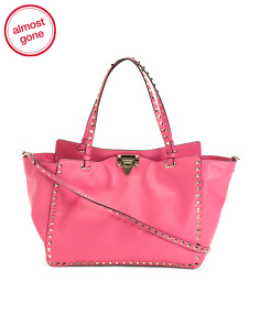 Made In Italy Rockstud Medium Leather Tote