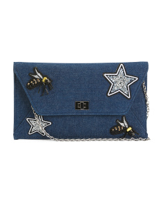 Bees And Stars Applique Envelope Clutch
