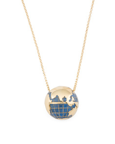 Made In Italy Plated Sterling Silver Enamel Globe Necklace
