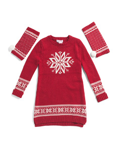 Big Girls Snowflake Jacquard Sweater Dress