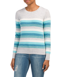 Striped Crew Neck Cashmere Sweater
