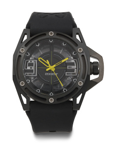 Men's Nyc Silicone Strap Watch With Emergency Yellow Accents