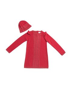 Big Girls Rhinestone Cable Sweater Dress With Matching Hat
