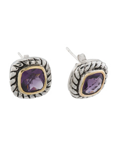 14k Gold And Sterling Silver Amethyst Twist Earrings