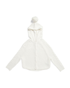 Little Girls Hooded Pom Pom Cardigan