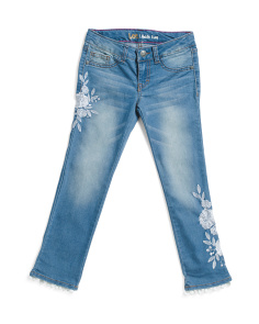 Big Girl Flower Embellished Pom Pom Jeans