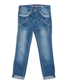 Big Girls Pom Pom Trim Cuffed Jeans