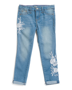 Little Girl Flower Embellished Jeans