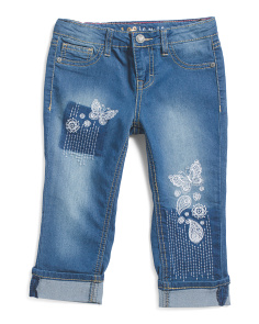 Little Girl Paisley Embellished Cuffed Jeans