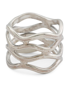 Made In Mexico Sterling Silver Crossover Band Ring
