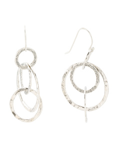 Made In Israel Sterling Silver Multi Circle Earrings