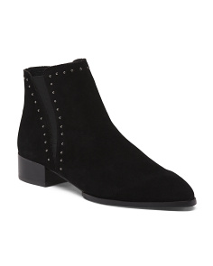 Double Gore Studded Suede Booties