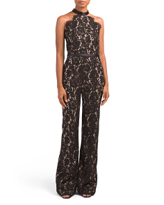 Beaded Neckline Lace Jumpsuit