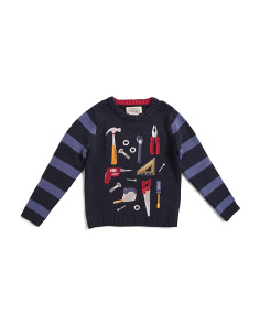 Toddler Boys Tool Embroidered Sweater